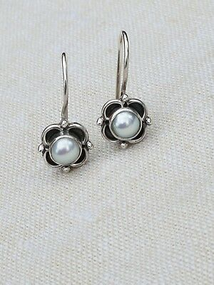 Vintage sterling silver 925 flower blossom with fresh water pearl drop earrings