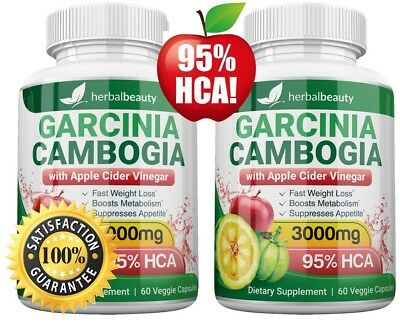 2X HerbalBeauty GARCINIA CAMBOGIA 95% HCA APPLE CIDER VINEGAR 3000mg Weight Loss