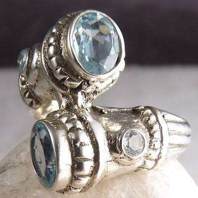QUAD Gemstone Ring Size US 6.5 SILVERSARI Solid 925 Stg Silver + BLUE TOPAZ