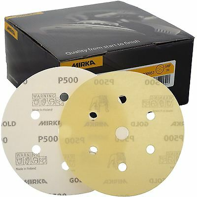 "Mirka Gold Hook-It DA Sanding Discs Ø 150mm 6"" 500 Grit 6+1 Hole Sander Pads"
