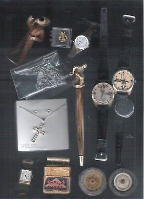 Vintage Junk Drawer Lot Toys Watches Costume Jewelry Awards