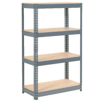 "Boltless Extra Heavy Duty Shelving 36""W x 12""D x 72""H, 4 Shelves, Wood Deck, Lot"