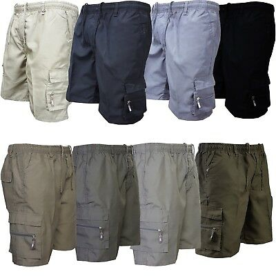 Mens Elasticated Chino Summer Shorts Cotton Casual Plain Cargo Combat Pant 30-46