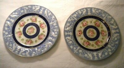 Pair of Antique Plate Early Spode With Staple Repair Hand Painted Embossed