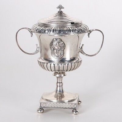 Large Silver Double Handled Chalice Cup with Lid - Pehr Zethelius - Sweden 1799