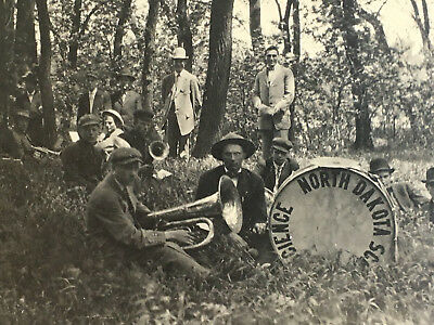 RARE: c1915 RPPC North Dakota State School of Science BAND PLAYERS now NDSCS