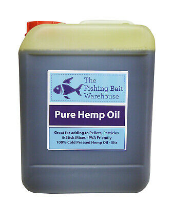 100% Pure Hemp Oil 5ltr - Fishing Bait, Carp, Bait Dip, PVA Friendly - 5 Litre