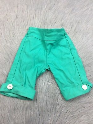 Vtg 50s Toddler Girls 2T Green Turquoise Petal Pusher Capri Pants