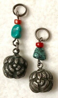 Pair Of Antique Chinese Silver Chatelaine Rattles W/ Turquoise Beads