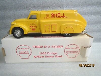 Shell 1938 Dodge Airflow Tanker Bank-Die Cast Metal Coin Bank