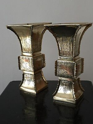 Pair Of Antique Brass Vases Chinoiserie Oriental Style Decorative