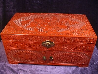 """Large vintage Chinese carved cinnabar lacquer jewelry trunk box 22""""x12""""x10"""""""