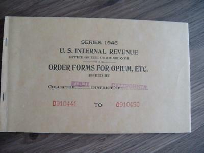 Vintage Series 1948 U.S. Internal Revenue Order Forms For Opium - Sacramento, CA