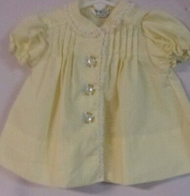 Vintage Pale Yellow Tiny Tots Baby or Doll Dress With Beautiful Embroidery