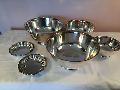 """Lot 6 Vintage Revere Silverplate 6,8,10"""" Footed Bowls Candy Oneida Rogers Repro"""