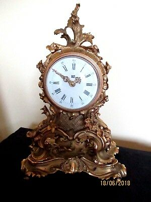 """Rare  """" Dent of London """"  French Loius XV style Gilded Brass 8 Day Mantel Clock."""
