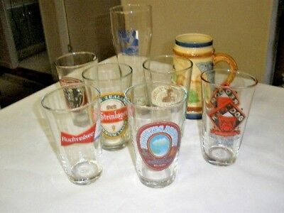 Lot Of (7) Collectible Beer Glasses & (1) Beer Stein