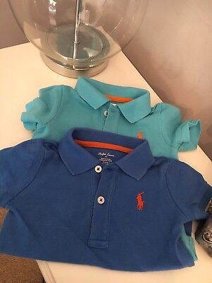 Ralph Lauren Blue Baby Grow Vest Polo Style Size 9 Months X2