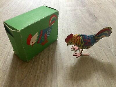 Vintage Rooster Wind Up Toy. Boxed. Made In The USSR. Missing Key