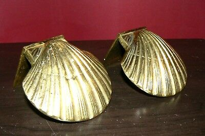 Vintage PAIR OF SOLID BRASS SEASHELL BOOKENDS BOOK ENDS.