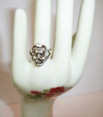 Vintage One-Of- A- Kind Sterling Silver Flip Drama Mask- Happy/sad Face Ring
