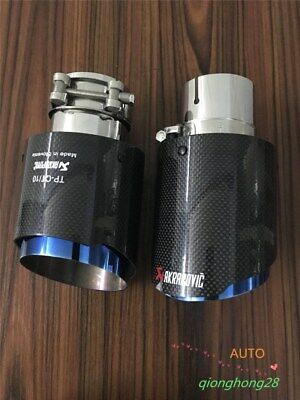 "1Pcs ID:2.5""63mm OD:4""101mm Akrapovic Glossy Carbon Fiber Exhaust Pipe tip Blue"