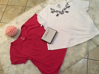 Lot of 2 Womens Casual Plus Sz Tops 2X 3X white Pink basic editions faded glory
