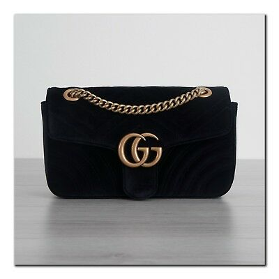 be252116e26 GUCCI 1790  AUTHENTIC New Small GG Marmont Shoulder Bag In Black Velvet -   1