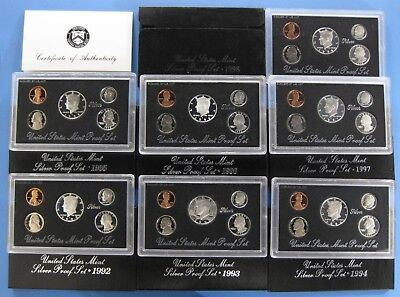 1992-S thru 1998-S Complete Silver Proof Set Collection