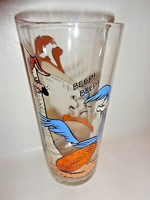 1976 Wile E. Coyote And Roadrunner Pepsi Series Glass Very Clean And Bright