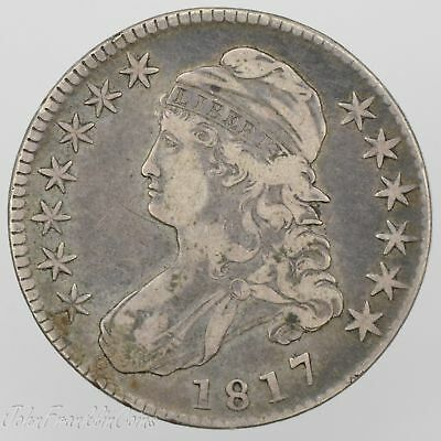 """1817 50c Capped Bust Half Dollar """"Lettered Edge"""" VF/XF /W-097"""