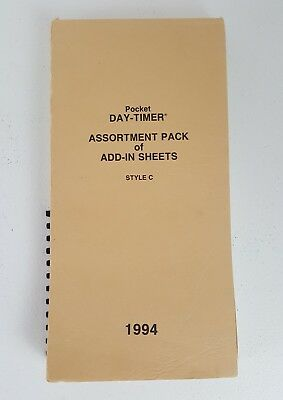 Pocket Day-Timer Retro Add In Sheets for 1994 Model C525 Mileage Notes Memos