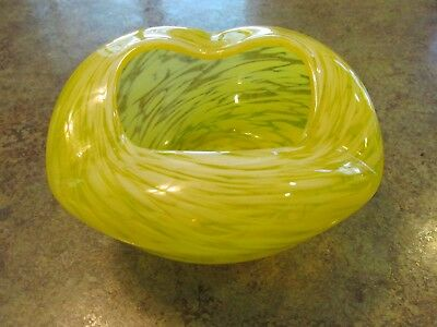 Vintage Beautiful Yellow Splatter Art Glass Free Form Bowl Vase Czech or Bohemia