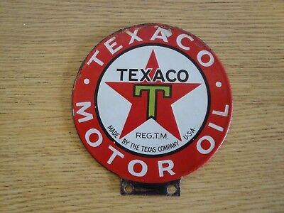 Rare Original Texaco Lubster Porcelain double sided Sign