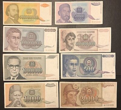 YUGOSLAVIA Hyperinflation Banknotes Lot, 8 Pieces (Pcs) Set, World Currency