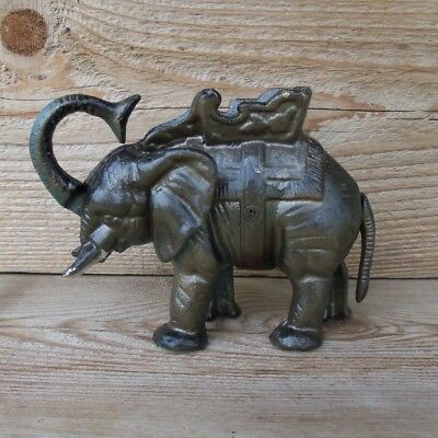 Vintage Old Cast Iron Circus Elephant Coin Penny Bank Mechanical Works