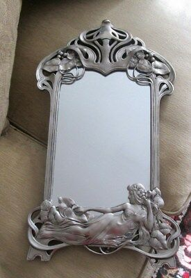 Vintage ART NOUVEAU Style Large White Metal Table or Wall Mirror with Easel Back
