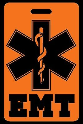 Safety Orange EMT Luggage/Gear Bag Tag - FREE Personalization - New