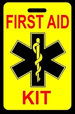 Safety Yellow FIRST AID KIT Bag Tag - FREE Personalization - New