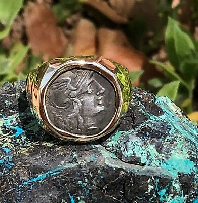 17 Grams Heavy Men's 14K Solid Gold Ring W/ Ancient Roman Silver  Coin Sz 10 3/4