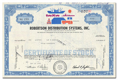 Robertson Distribution Systems, Inc. Stock Certificate (Houston, Texas)