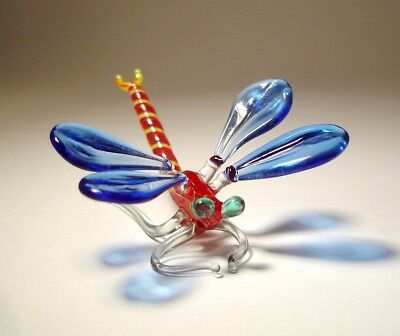 Blown Glass Art Insect Figurine Small Blue and Red DRAGONFLY