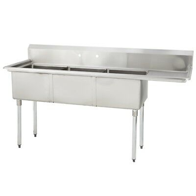 (3) Three Compartment Commercial Stainless Steel Sink 74.5 x 29.8 G