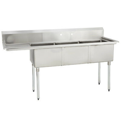(3) Three Compartment Commercial Stainless Steel Sink 68.5 x 21.8 G