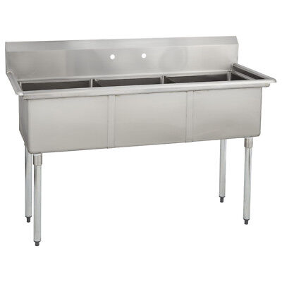 (3) Three Compartment Commercial Stainless Steel Sink 59 x 29.8 G