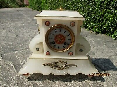 White French Marble 8 Day Mantel Clock.