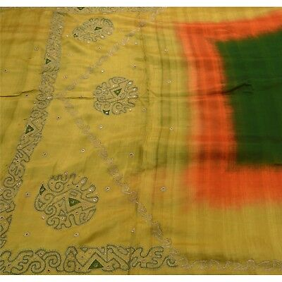 Tcw  Vintage Saree Pure Silk Hand Embroidered Fabric Premium Green 5Yd Sari
