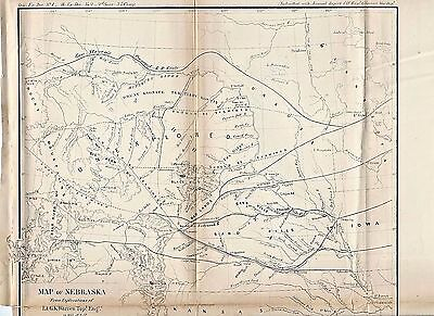 1857 Nebraska Map ~ Proposed R.r. Route ~ Unexplored Area Should Be Examined