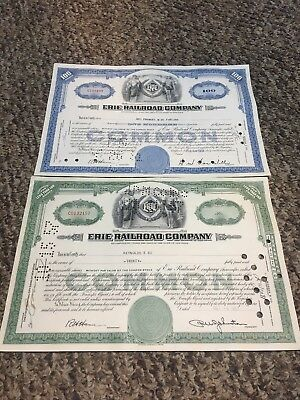 Lot Of 2 Different Erie Railroad Company  Stock Certificates 100 & 20 Shares
