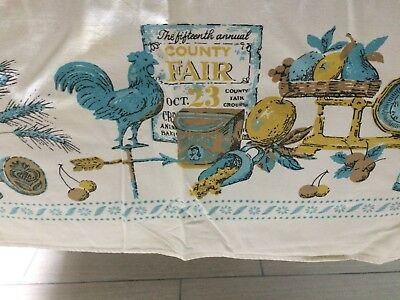 "Vtg 52"" x62"" Printed Cotton Tablecloth Rooster/Country Bounty Theme Blue Gold"